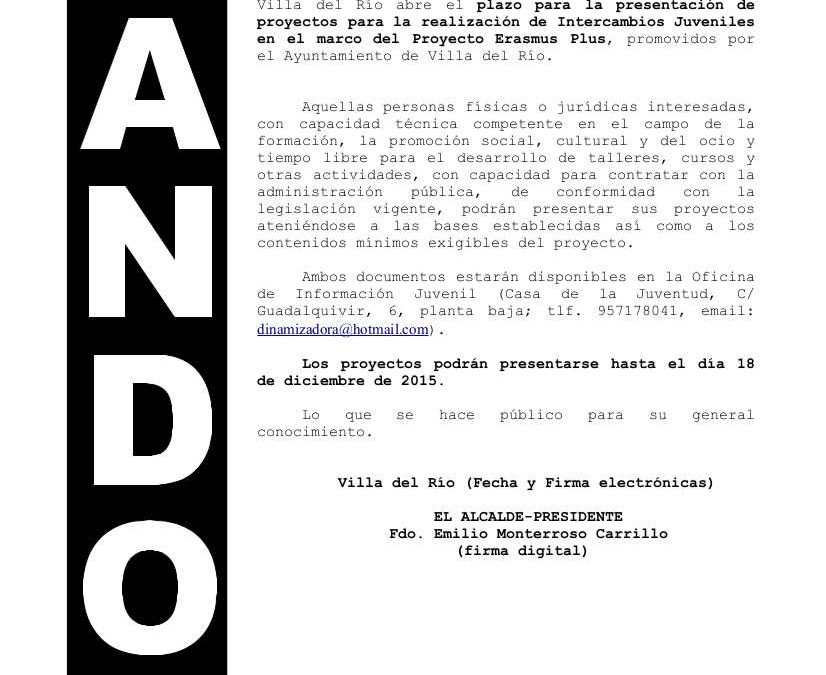 PRESENTACIÓN DE PROYECTOS INTERCAMBIO JUVENIL