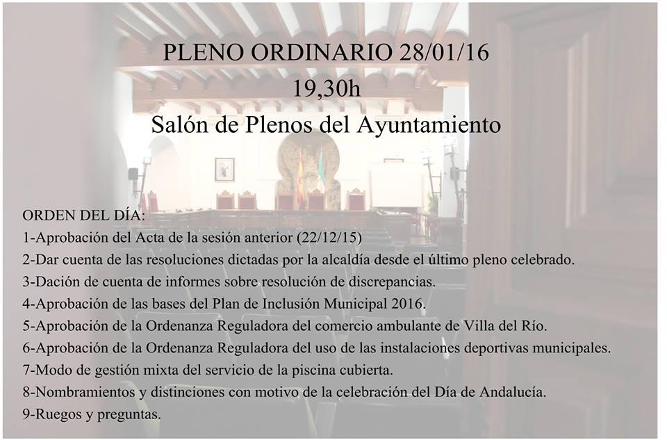 Esta tarde, Pleno Ordinario