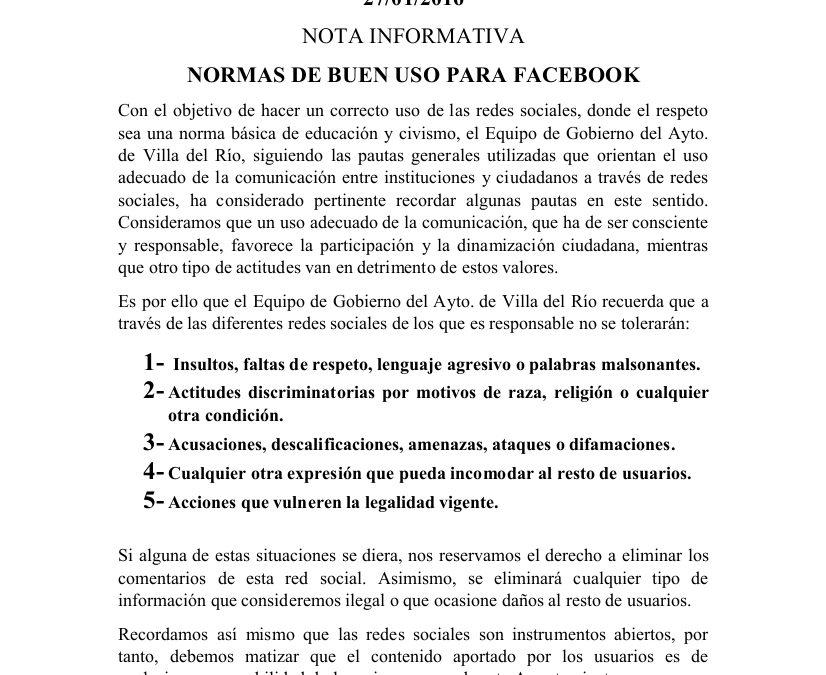 Normas de buen uso para el Facebook oficial del Ayuntamiento de Villa del Río 1