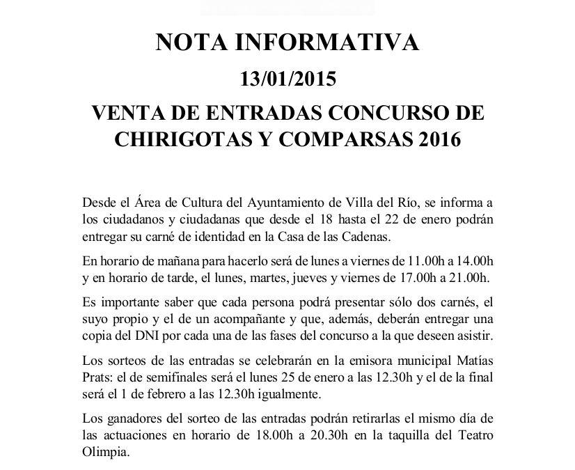 VENTA DE ENTRADAS CONCURSO CHIRIGOTAS Y COMPARSAS 2016 1