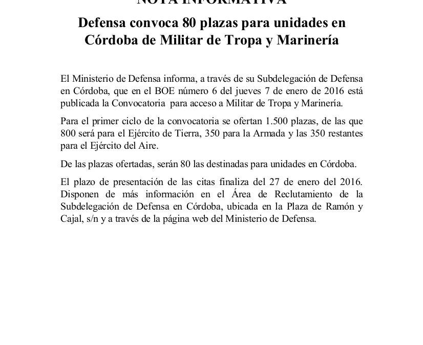 Defensa convoca 80 plazas para unidades en Córdoba de Militar de Tropa y Marinería 1