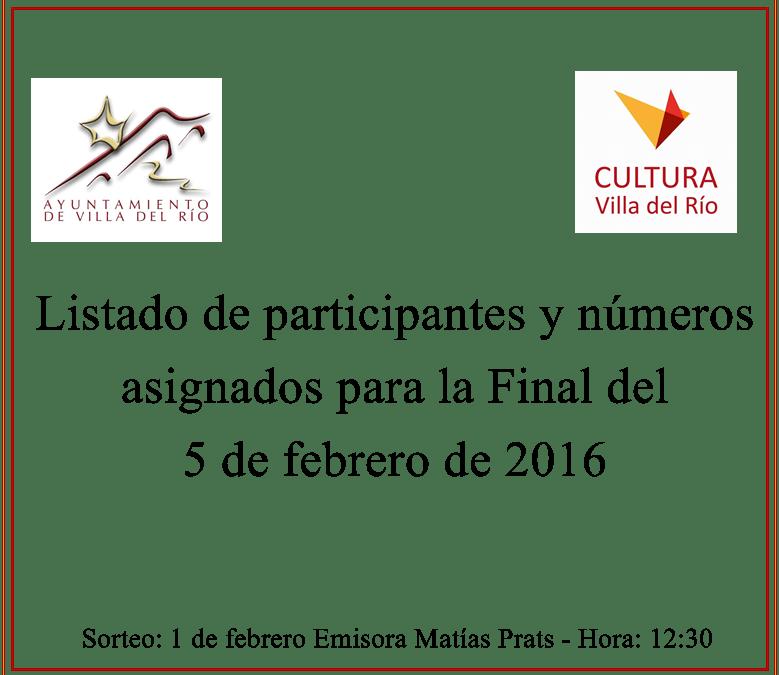 Listado de participantes para el sorteo de entradas de la Final del Concurso de Comparsas y Chirigotas 2016 1