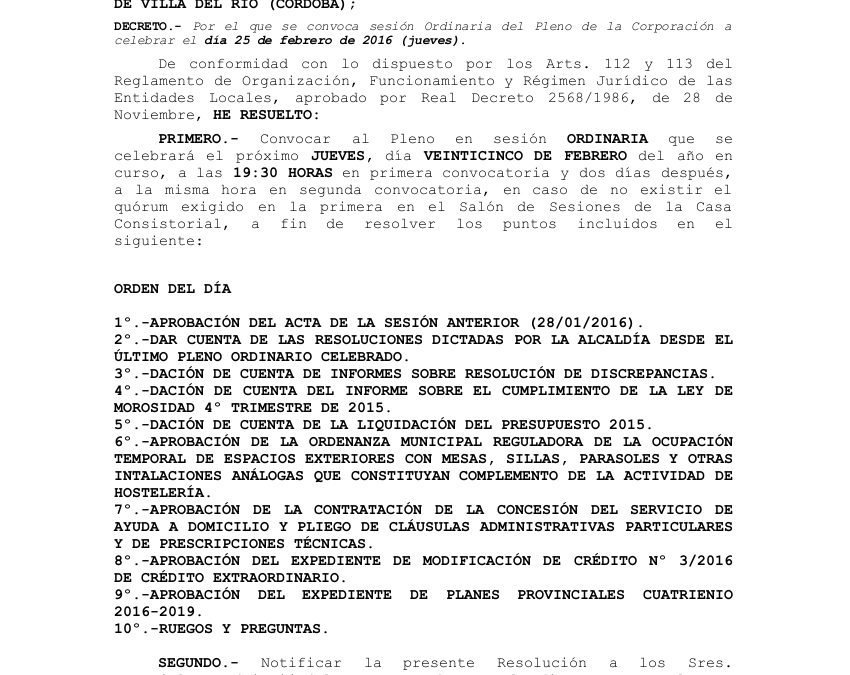 Orden del día del próximo Pleno Ordinario 1