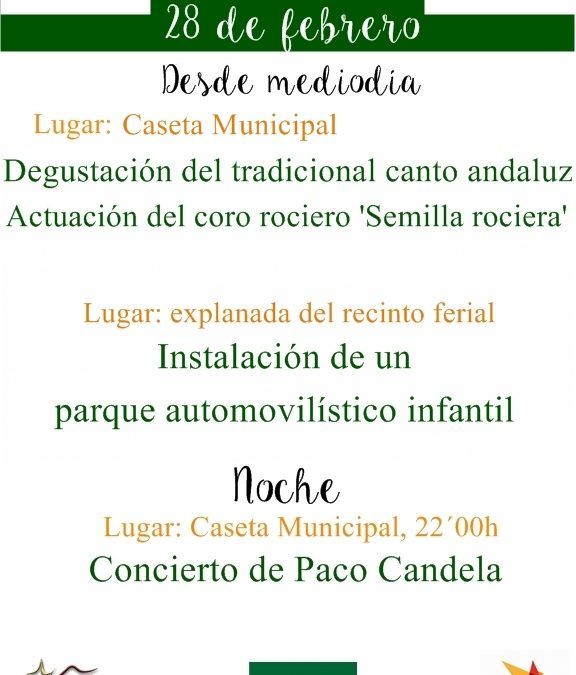 CAMBIO EN EL LUGAR DE CELEBRACIÓN DE LAS ACTIVIDADES DEL DOMINGO 28 DE FEBRERO, DÍA DE ANDALUCÍA 1