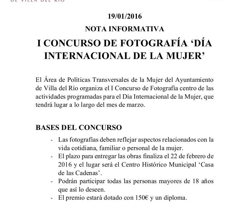 NOVEDAD | SE ACLARAN ALGUNAS PAUTAS DEL I CONCURSO DE FOTOGRAFÍA 'DÍA DE LA MUJER' 1