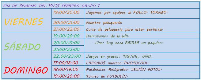 """CON OTRO PLAN"" FIN DE SEMANA 19/21 FEBRERO 1"