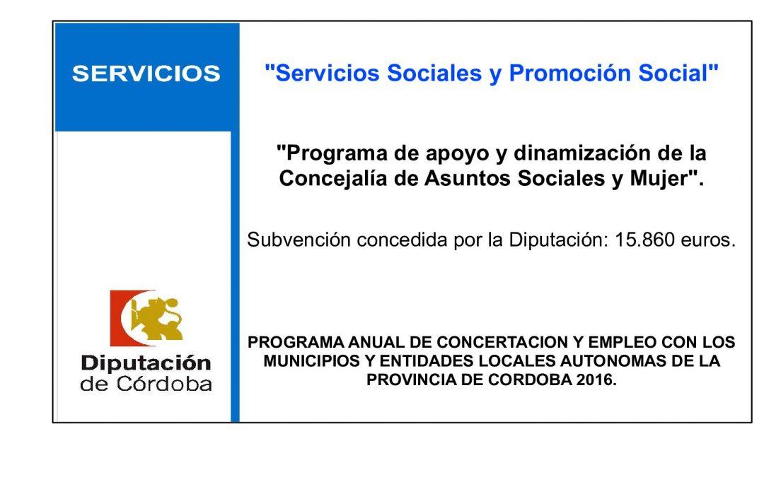 Programa de apoyo y dinamización de la Concejalía de Asuntos Sociales y Mujer 1