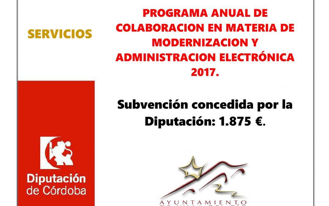 PROGRAMA ANUAL DE COLABORACION EN MATERIA DE MODERNIZACION Y ADMINISTRACION ELECTRÓNICA 2017. 1