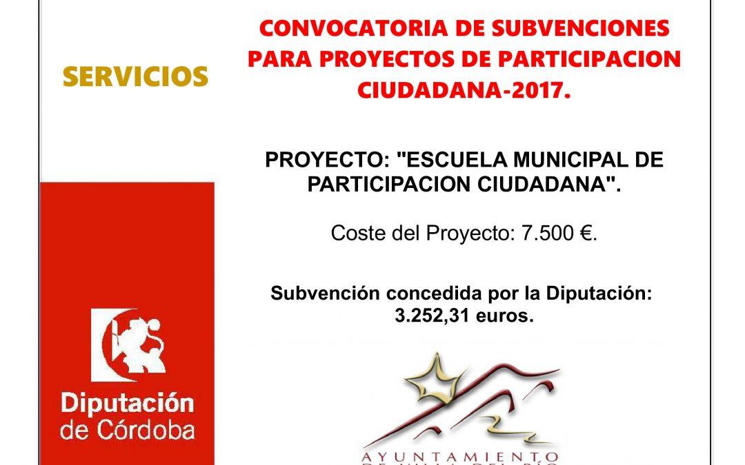 CONVOCATORIA DE SUBVENCIONES PARA PROYECTOS DE PARTICIPACION CIUDADANA 2017. 1