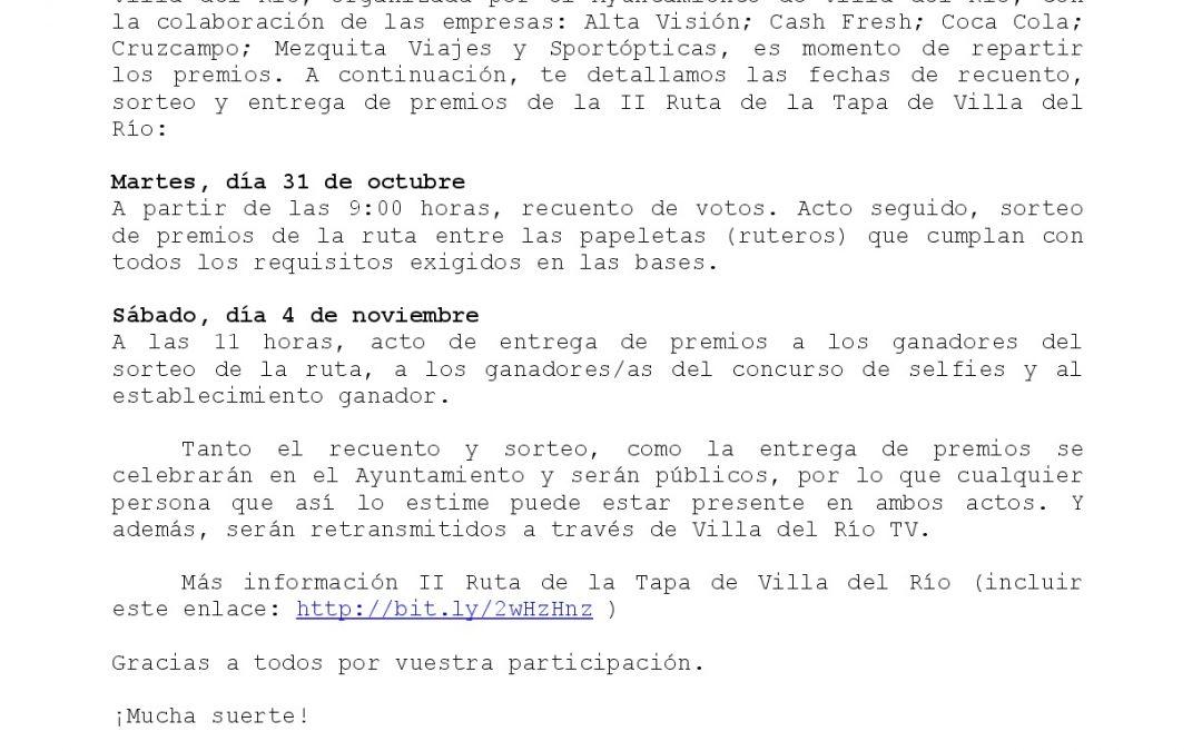 INFORMACIÓN PREMIOS II RUTA DE LA TAPA 1