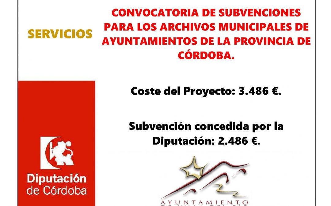 CONVOCATORIA DE SUBVENCIONES PARA LOS ARCHIVOS MUNICIPALES DE AYUNTAMIENTOS DE LA PROVINCIA DE CÓRDOBA. 1