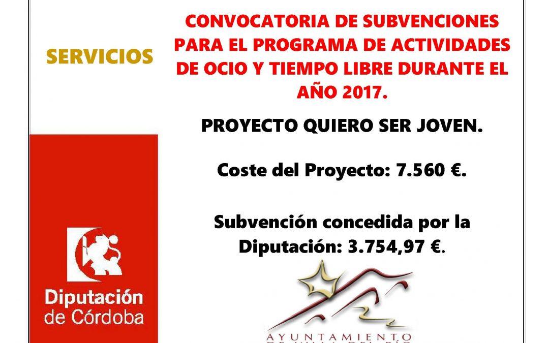 CONVOCATORIA DE SUBVENCIONES PARA EL PROGRAMA DE ACTIVIDADES DE OCIO Y TIEMPO LIBRE DURANTE EL AÑO 2017. 1