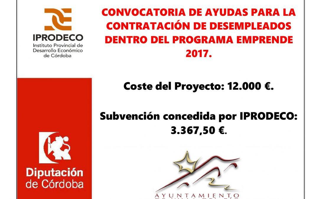 CONVOCATORIA DE AYUDAS PARA LA CONTRATACIÓN DE DESEMPLEADOS DENTRO DEL PROGRAMA EMPRENDE 2017. 1