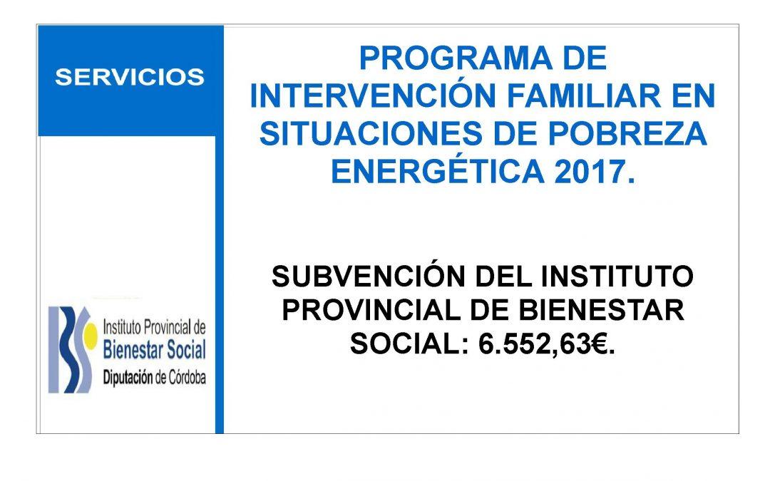PROGRAMA DE INTERVENCIÓN FAMILIAR EN SITUACIONES DE POBREZA ENERGÉTICA 2017. 1