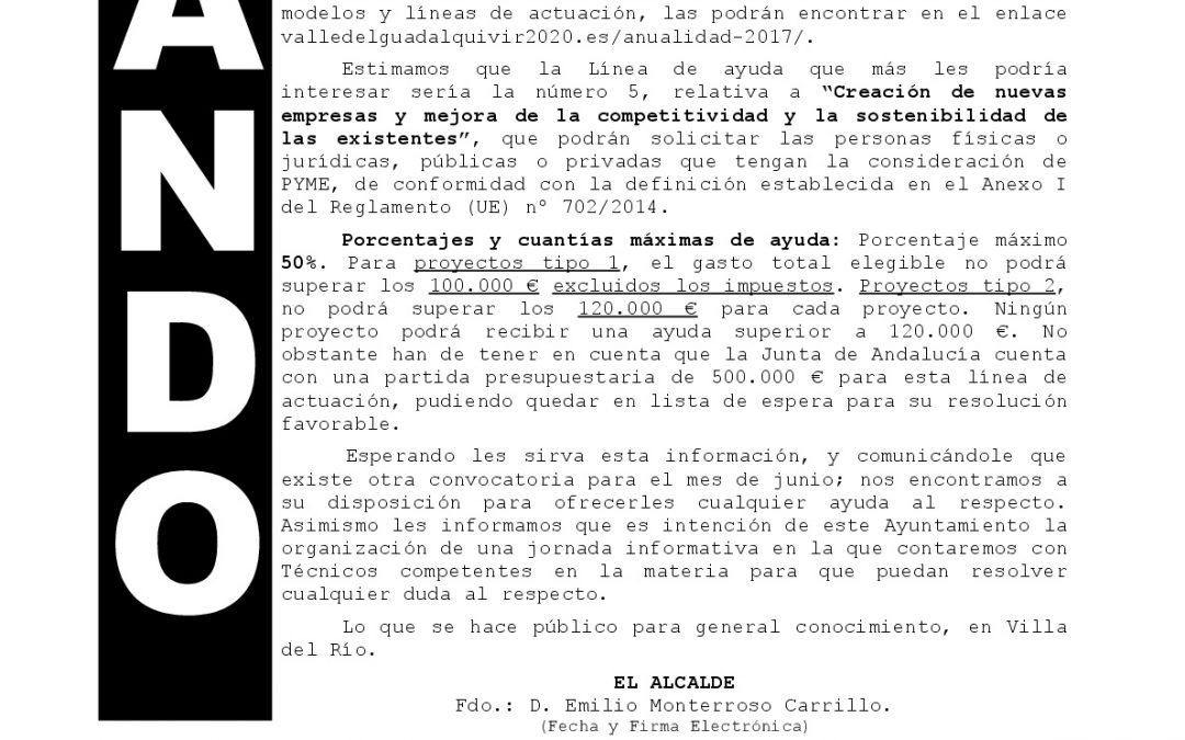 Bando información ayudas GDR para empresarios 1
