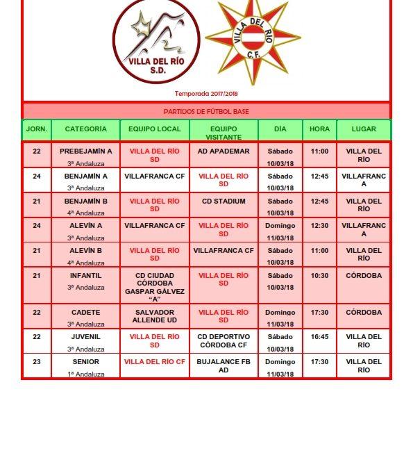 Partidos y horarios futbol 1