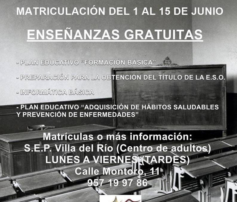Abierto plazo de matriculación SEP Villa del Río 1