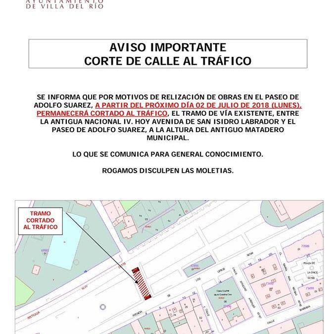Anuncio Importante - Corte de calle al tráfico 1