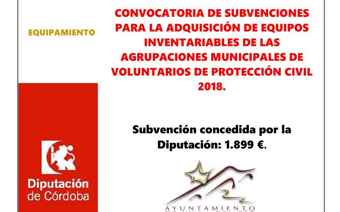 CONVOCATORIA DE SUBVENCIONES PARA LA ADQUISICIÓN DE EQUIPOS INVENTARIABLES DE LAS AGRUPACIONES MUNICIPALES DE VOLUNTARIOS DE PROTECCIÓN CIVIL 2018. 1