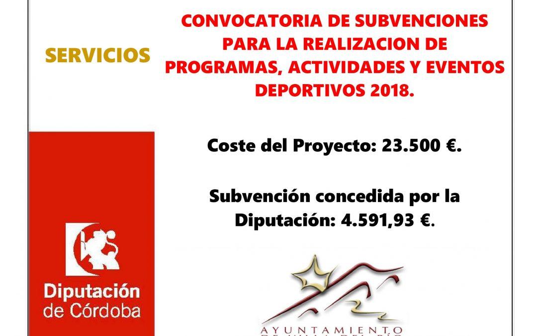 CONVOCATORIA DE SUBVENCIONES PARA LA REALIZACION DE PROGRAMAS, ACTIVIDADES Y EVENTOS DEPORTIVOS 2018. 1