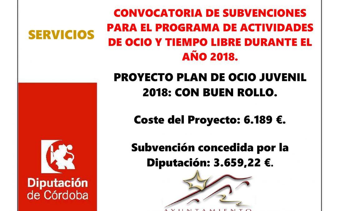 CONVOCATORIA DE SUBVENCIONES PARA EL PROGRAMA DE ACTIVIDADES DE OCIO Y TIEMPO LIBRE DURANTE EL AÑO 2018. 1