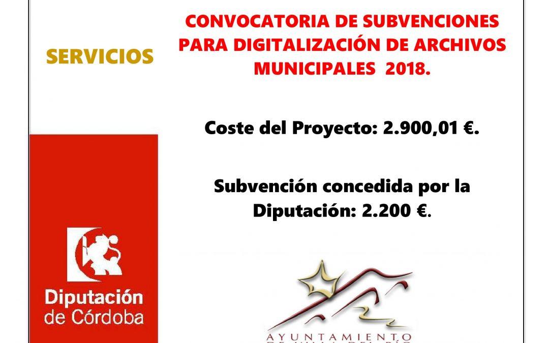 CONVOCATORIA DE SUBVENCIONES PARA DIGITALIZACIÓN DE ARCHIVOS MUNICIPALES  2018. 1