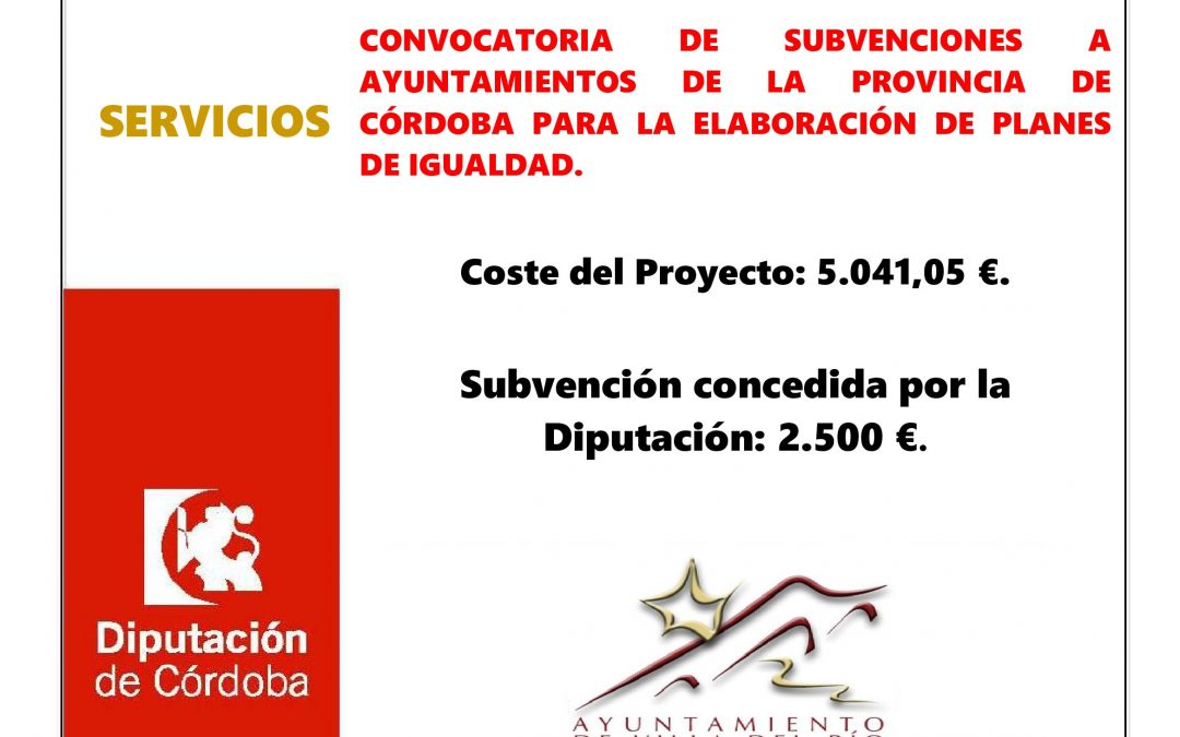 CONVOCATORIA DE SUBVENCIONES A AYUNTAMIENTOS DE LA PROVINCIA DE CÓRDOBA PARA LA ELABORACIÓN DE PLANES DE IGUALDAD. 1
