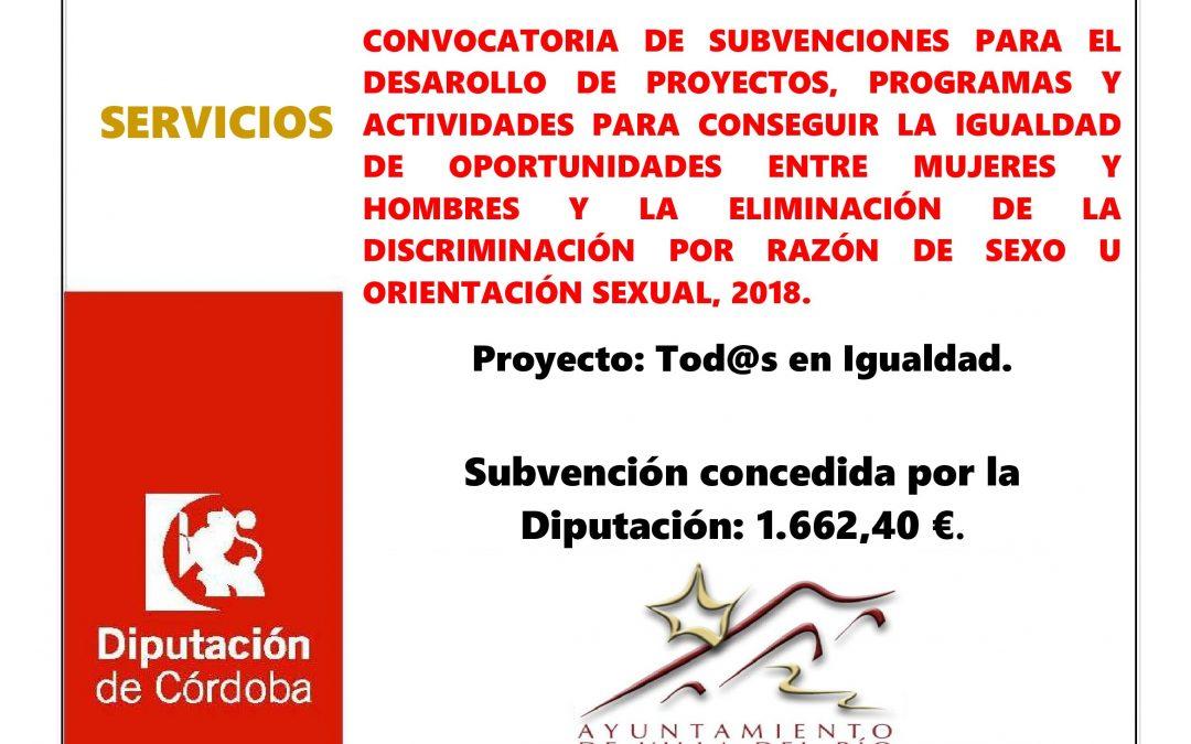 CONVOCATORIA DE SUBVENCIONES PARA EL DESAROLLO DE PROYECTOS, PROGRAMAS Y ACTIVIDADES PARA CONSEGUIR LA IGUALDAD DE OPORTUNIDADES ENTRE MUJERES Y HOMBRES Y LA ELIMINACIÓN DE LA DISCRIMINACIÓN POR RAZÓN DE SEXO U ORIENTACIÓN SEXUAL, 2018. 1