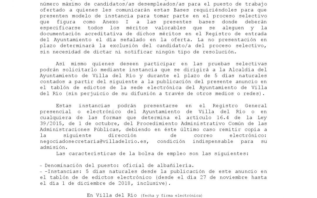 Anuncio oficial de albañilería 1