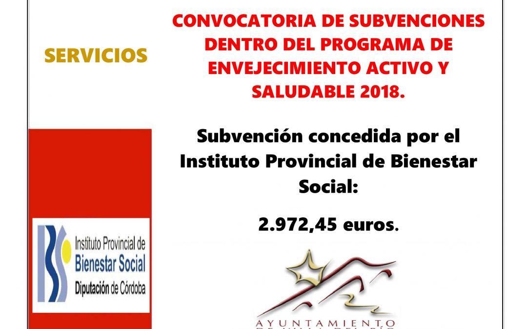 CONVOCATORIA DE SUBVENCIONES DENTRO DEL PROGRAMA DE ENVEJECIMIENTO ACTIVO Y SALUDABLE 2018. 1