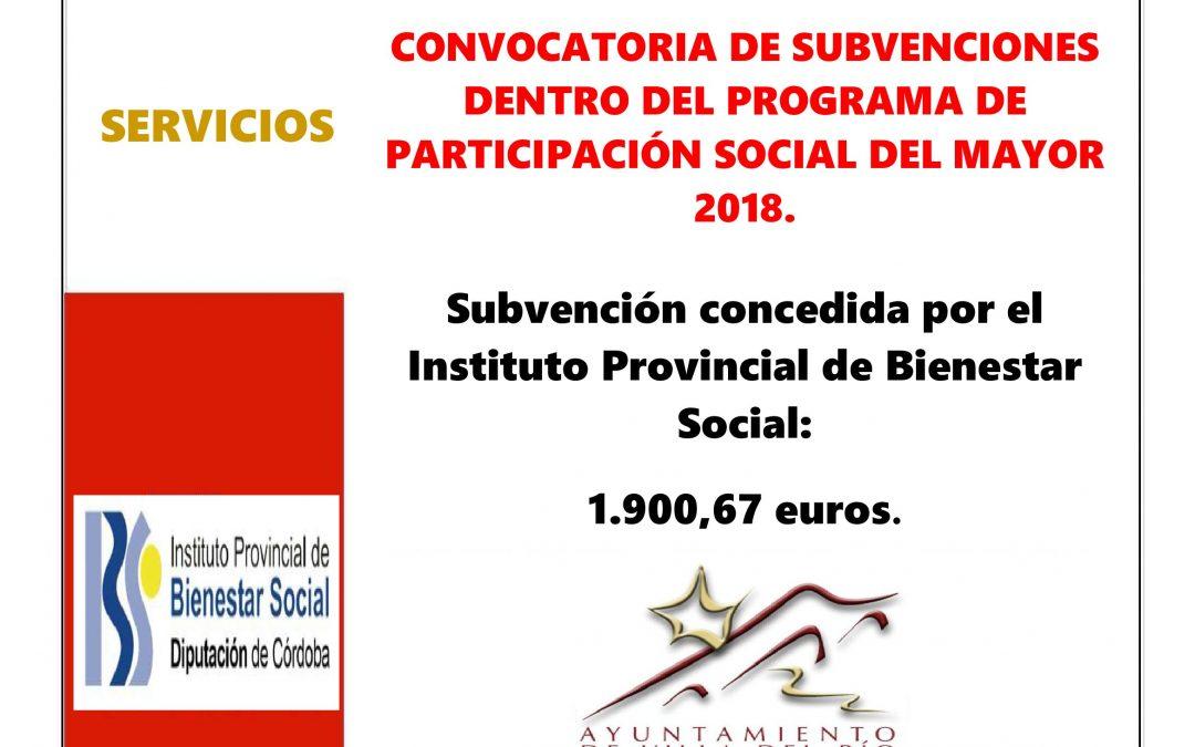 CONVOCATORIA DE SUBVENCIONES DENTRO DEL PROGRAMA DE PARTICIPACIÓN SOCIAL DEL MAYOR 2018. 1