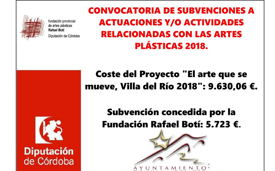 CONVOCATORIA DE SUBVENCIONES A ACTUACIONES Y/O ACTIVIDADES RELACIONADAS CON LAS ARTES PLÁSTICAS 2018. 1