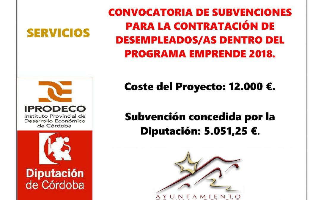 CONVOCATORIA DE SUBVENCIONES PARA LA CONTRATACIÓN DE DESEMPLEADOS/AS DENTRO DEL PROGRAMA EMPRENDE 2018. 1