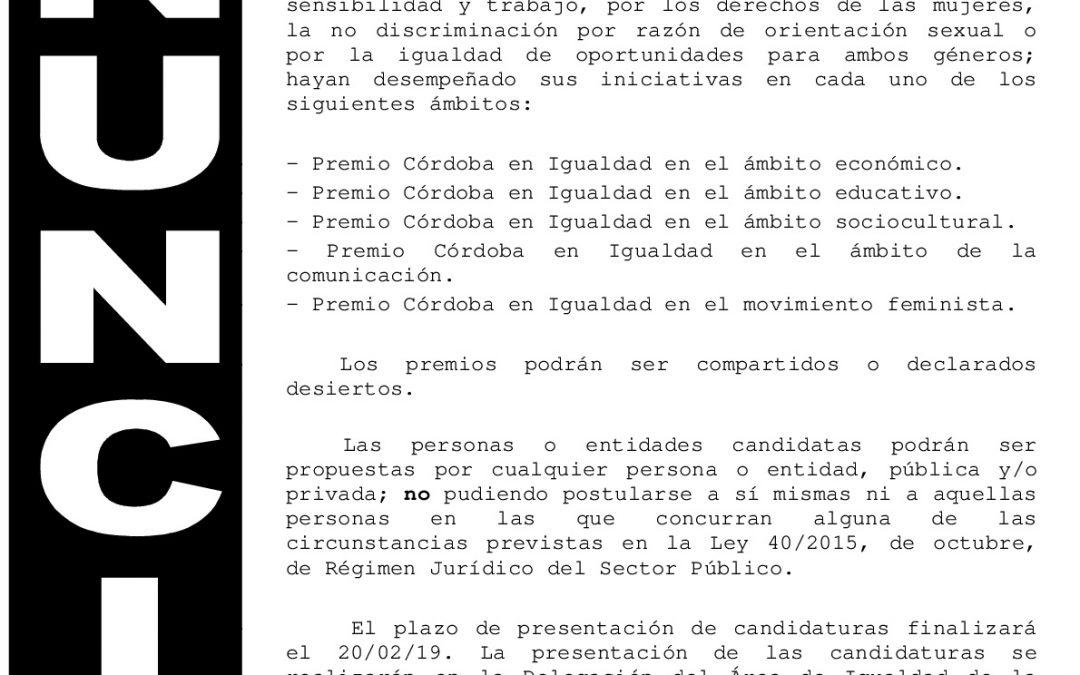 Anuncio Premio Córdoba en Igualdad