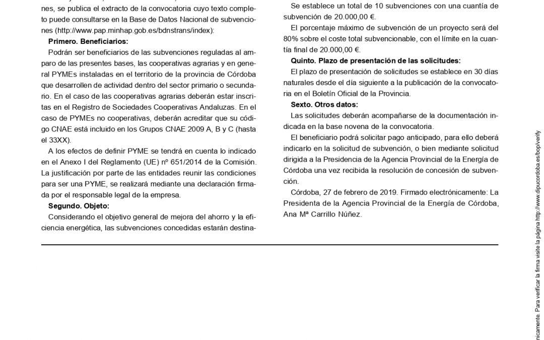 CONVOCATORIA DE SUBVENCIONES PARA EL DESARROLLO DE PROYECTOS DE AHORRO Y EFICIENCIA ENERGÉTICA EN LA PROVINCIA DE CÓRDOBA-2019