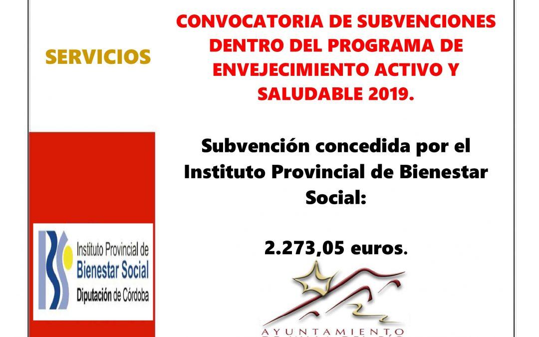 CONVOCATORIA DE SUBVENCIONES DENTRO DEL PROGRAMA DE ENVEJECIMIENTO ACTIVO Y SALUDABLE 2019. 1