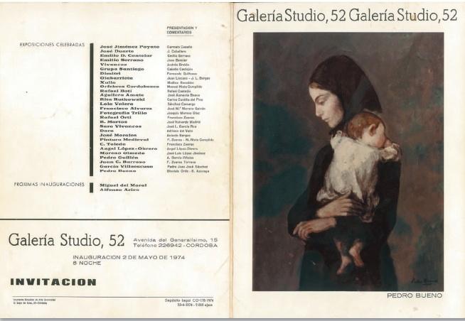 Catálogo de exposición en Galería Studio 52 de Córdoba 1970