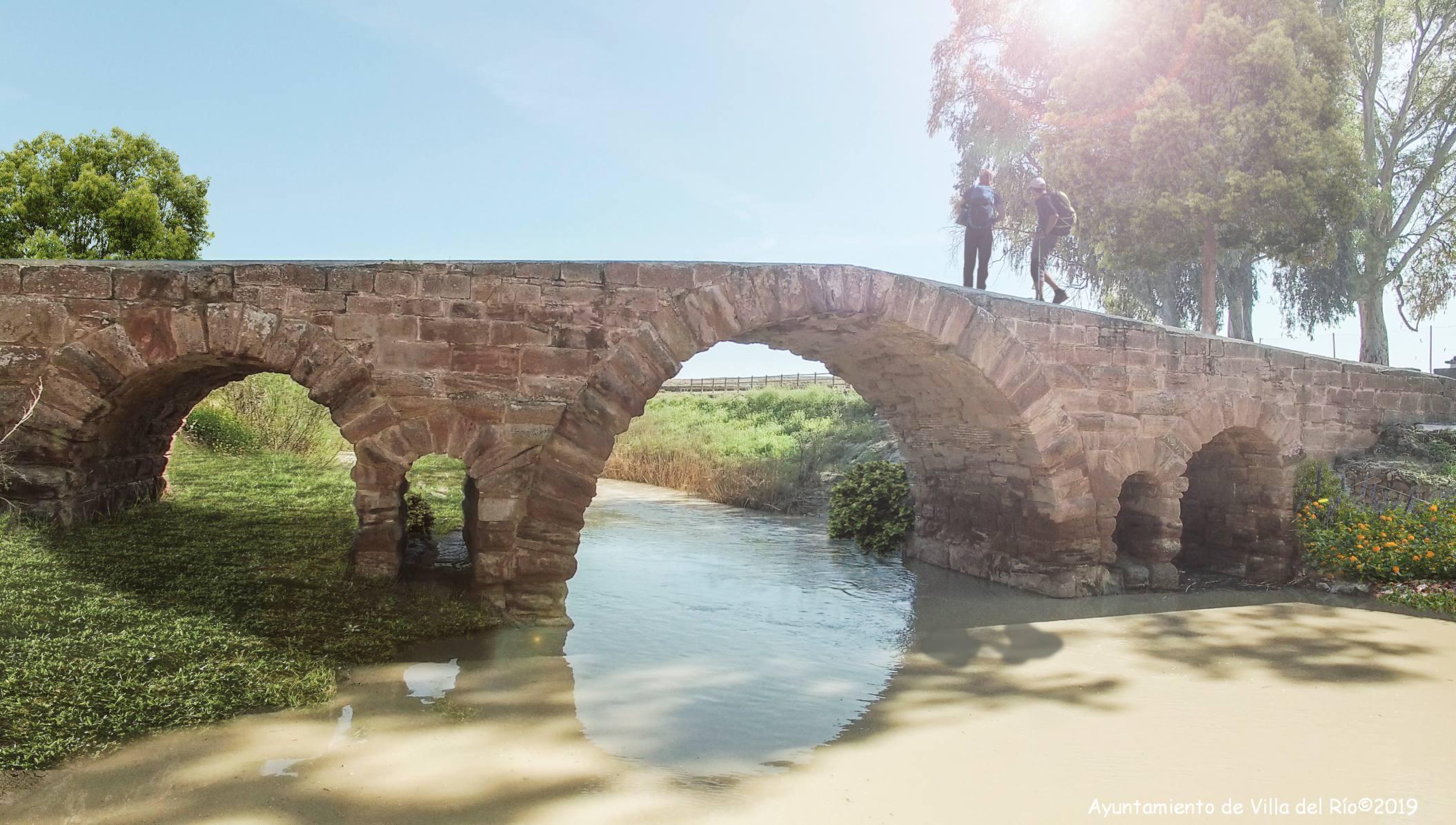 El Puente Romano está enclavado en un paraje natural entre flora ribereña y a la sombra de eucaliptos