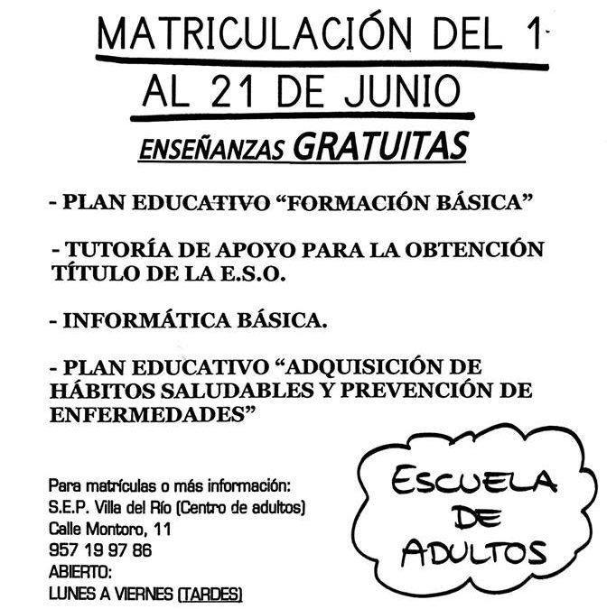 Plazo de Matriculación en el S.E.P.
