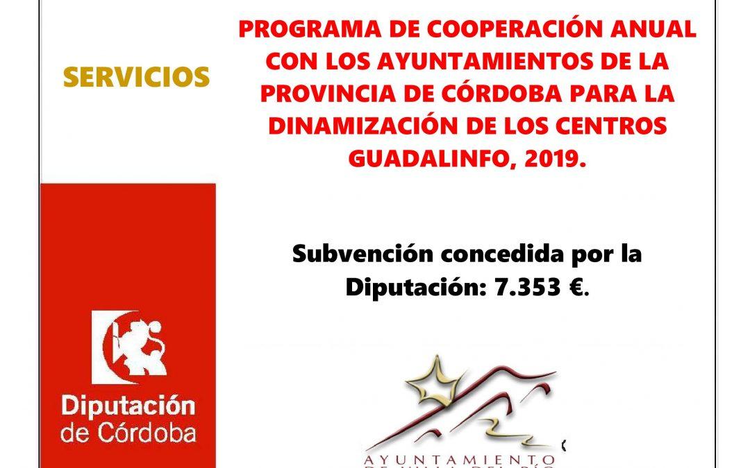 PROGRAMA DE COOPERACIÓN ANUAL CON LOS AYUNTAMIENTOS DE LA PROVINCIA DE CÓRDOBA PARA LA DINAMIZACIÓN DE LOS CENTROS GUADALINFO 2019. 1