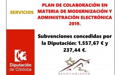 PLAN DE COLABORACIÓN EN MATERIA DE MODERNIZACIÓN Y ADMINISTRACIÓN ELECTRÓNICA 2019.