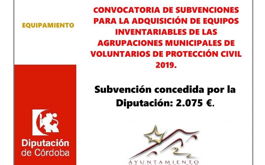 CONVOCATORIA DE SUBVENCIONES PARA LA ADQUISICIÓN DE EQUIPOS INVENTARIABLES DE LAS AGRUPACIONES MUNICIPALES DE VOLUNTARIOS DE PROTECCIÓN CIVIL 2019. 1