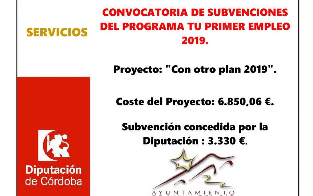 CONVOCATORIA DE SUBVENCIONES DEL PROGRAMA TU PRIMER EMPLEO 2019.