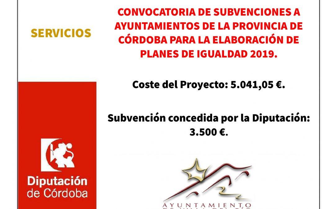 Convocatoria de subvenciones a Ayuntamientos de la provincia de Córdoba para la elaboración de planes de igualdad 2019 1