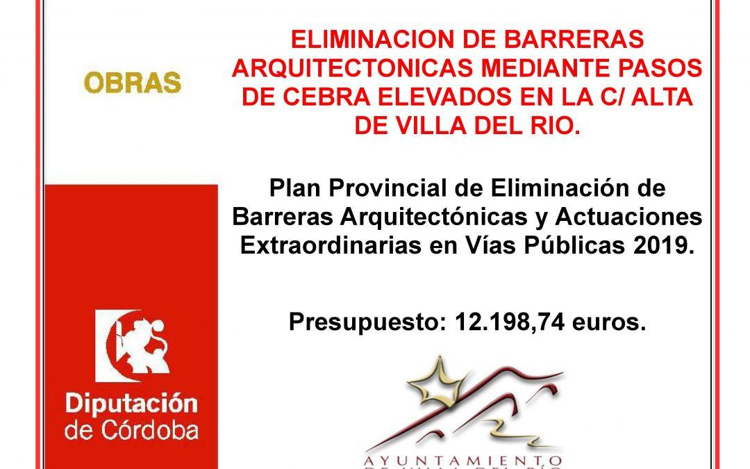 ELIMINACIÓN DE BARRERAS ARQUITECTÓNICAS MEDIANTE PASOS DE CEBRA ELEVADOS EN LA C/ ALTA