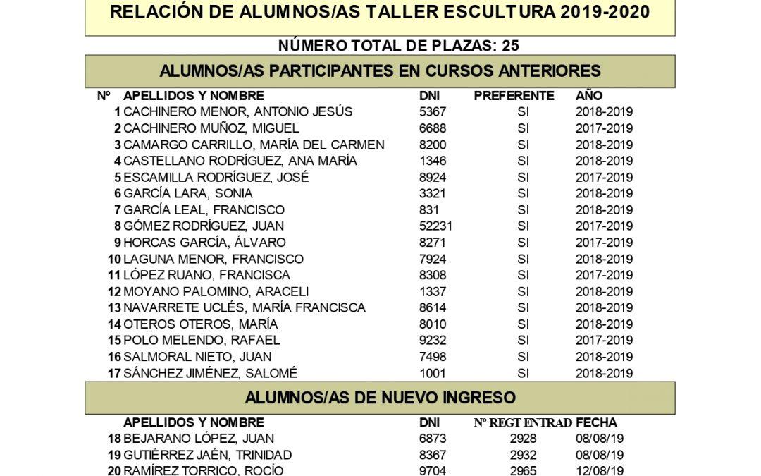 Listado de Alumnos y Alumnas admitidos en el Taller de Escultura 2019