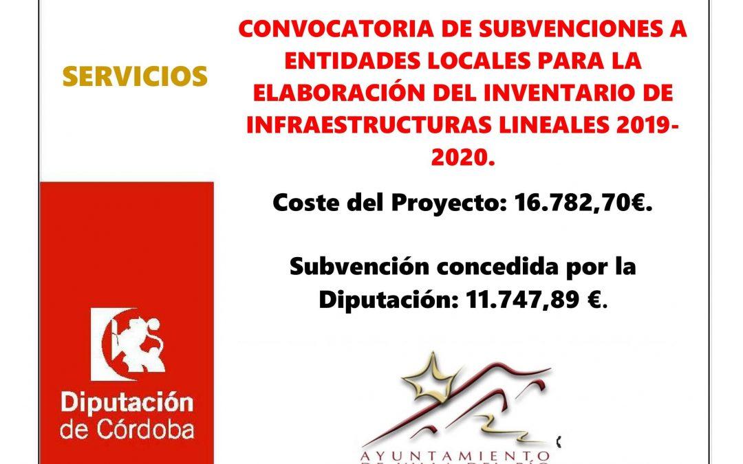 CONVOCATORIA DE SUBVENCIONES A ENTIDADES LOCALES PARA LA ELABORACIÓN DEL INVENTARIO DE INFRAESTRUCTURAS LINEALES 2019-2020. 1