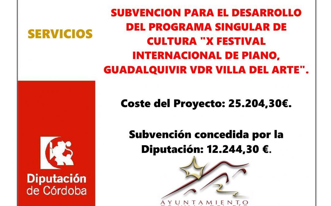 """SUBVENCION PARA EL DESARROLLO DEL PROGRAMA SINGULAR DE CULTURA """"X FESTIVAL INTERNACIONAL DE PIANO, GUADALQUIVIR VDR VILLA DEL ARTE"""". 1"""