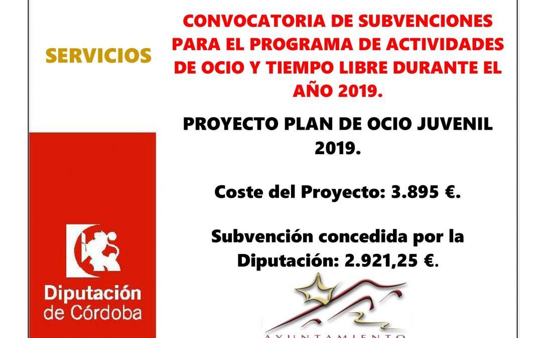 CONVOCATORIA DE SUBVENCIONES PARA EL PROGRAMA DE ACTIVIDADES DE OCIO Y TIEMPO LIBRE DURANTE EL AÑO 2019. 1