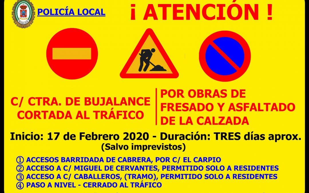 Atención. Obras mejora en la calle Carretera Bujalance 1